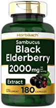 Horbaach Black Elderberry Capsules 2000mg   180 Pills   Non-GMO, Gluten Free   Sambucus Extract Supplement