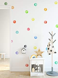 Murwall Polka Dots Wall Decal Watercolor Colorful Wall Stickers Round Wall Decal Peel and Stick Nursery Wall Decor 63 Dots