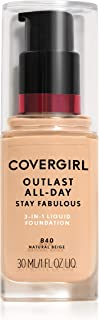 Covergirl Outlast All-Day Stay Fabulous 3-in-1 Foundation, Natural Beige, 1 Fl Oz