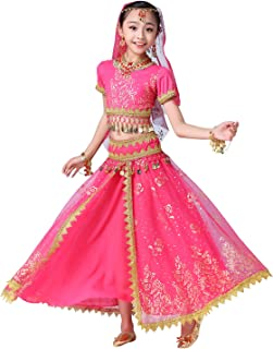 ORIDOOR Belly Dancing Costume Pleated Dress Set for Women and Girls Halloween Indian Performence Suits 5-Piece Outfit