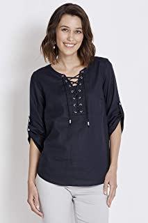 Rockmans Elbow Sleeve Lace Up Shirt - Womens