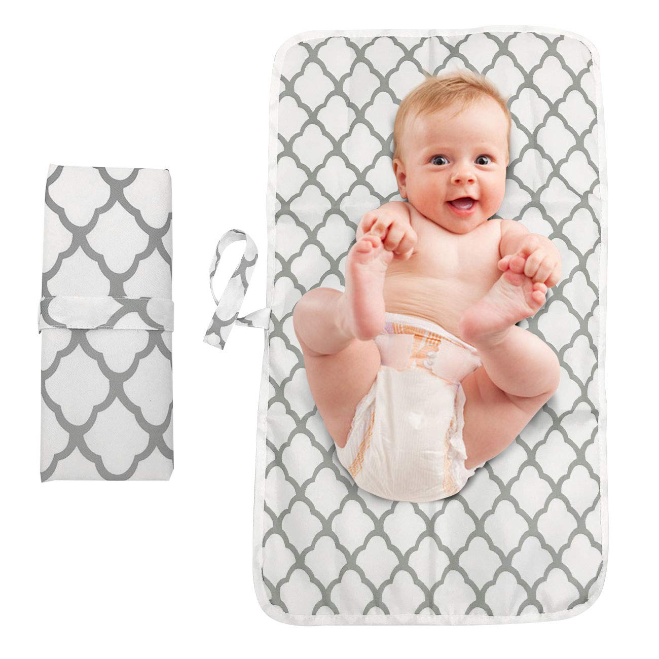 Portable Diaper Changing Pad, Entyle Waterproof Baby Changing Mat, Washable Lightweight Foldable Travel Mat Station for Toddlers Infants Newborns (White)