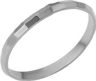 KoolJewelry Minimalist Women's 14k Yellow White or Rose Gold Hammered Diamond-cut Band Ring (2 mm)