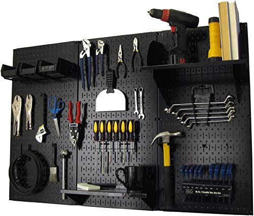 Pegboard Organizer Wall Control 4 ft. Metal Pegboard Standard Tool Storage Kit with Black Toolboard and Black Accesso...