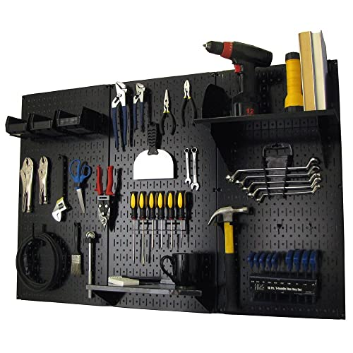 Pegboard Organizer Wall Control 4 ft. Metal Pegboard Standard Tool Storage Kit with Black Toolboard and Black Accessories