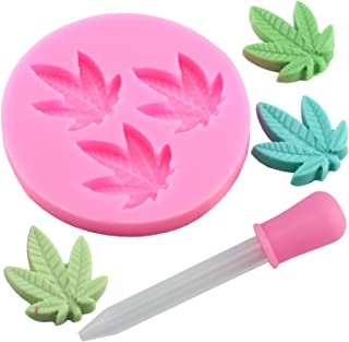 Mujiang Marijuana Leaf Silicone Jello Candy Chocolate Molds with 1 Pink Dropper