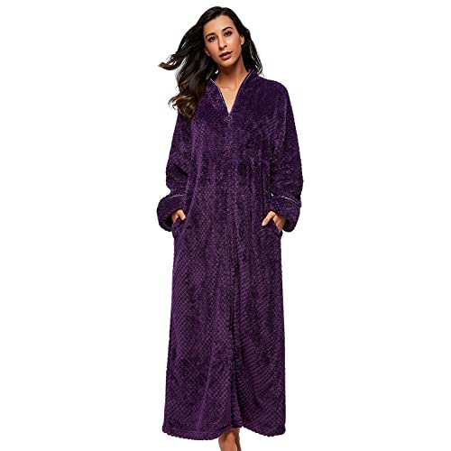 BELLOO Ladies Soft Fleece Dressing Gown Full Length Fluffy Bathrobe Zip Up 63c06bfd8