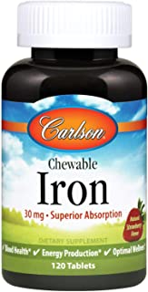 Carlson - Chewable Iron, 30 mg, Superior Absorption, Blood Health, Energy Production & Optimal Wellness, Chewable Iron Sup...