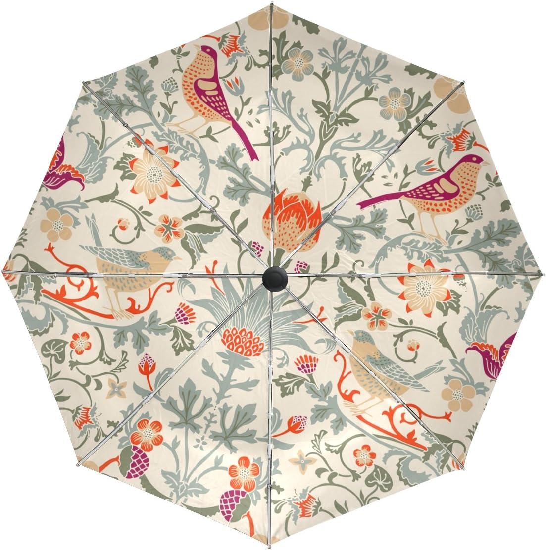 Year-end gift baihuishop William Morris Flower Windproof Auto Super-cheap Open C Umbrellas