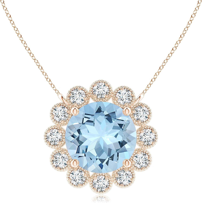 Many popular brands Aquamarine Pendant with Chicago Mall Bezel-Set Diamond Halo 6mm
