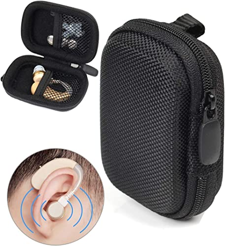 high quality Designed Protective Case for Hearing Aid, Hearing Amplifier, Personal Sound Amplifier, Hearing Device, Listening outlet sale Device, Strong Mini Case with lowest Mesh Pocket, Universal Design (Ballistic Black) sale