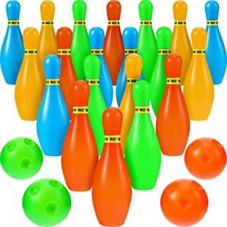 24 Pieces Mini Bowling Ball Set Small Plastic Bowling Pins Ball Colorful Bowling Ball Toys with 20 Mini Pins and 4 Balls for Party Favors Kit/Indoor and Outdoor Games/Educational Toys