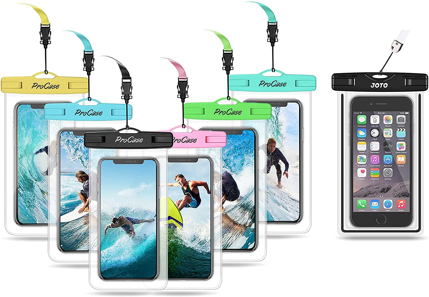 ProCase (6 Pack) Universal Waterproof Pouch Cellphone Dry Bag Bundle with JOTO Universal Waterproof Case for Phones up to 7.0