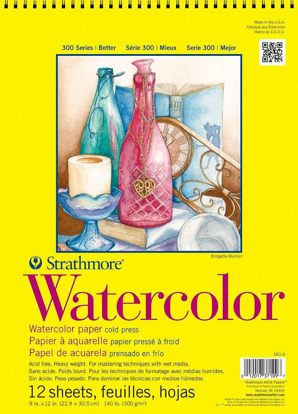 保育園負荷ルートStrathmore ST360-9 9 in. x 12 in. Cold Press Wire Bound Watercolor Pad