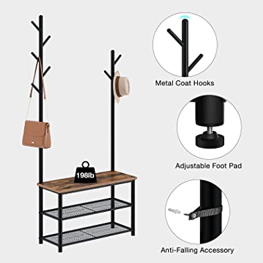 Rolanstar Coat Rack with Shoe Bench, Hall Tree with Bench, 2 in 1 Design, Multifunctional Shoe Bench for Entryway, Hallway, L