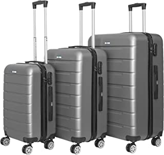 YINTON 3 Pcs Set of Luggage, Durable ABS Fully Covered Suitcase 360 Degree Silence Wheels Push-Button Handle Easy to Lock ...