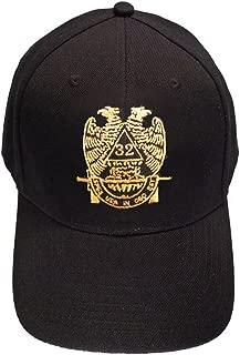 Masons Baseball Cap - Standard Scottish Rite Wings DOWN - Masonic Black Hat with 32nd degree Symbol - One Size Fits Most Cap for Freemasons (Black)