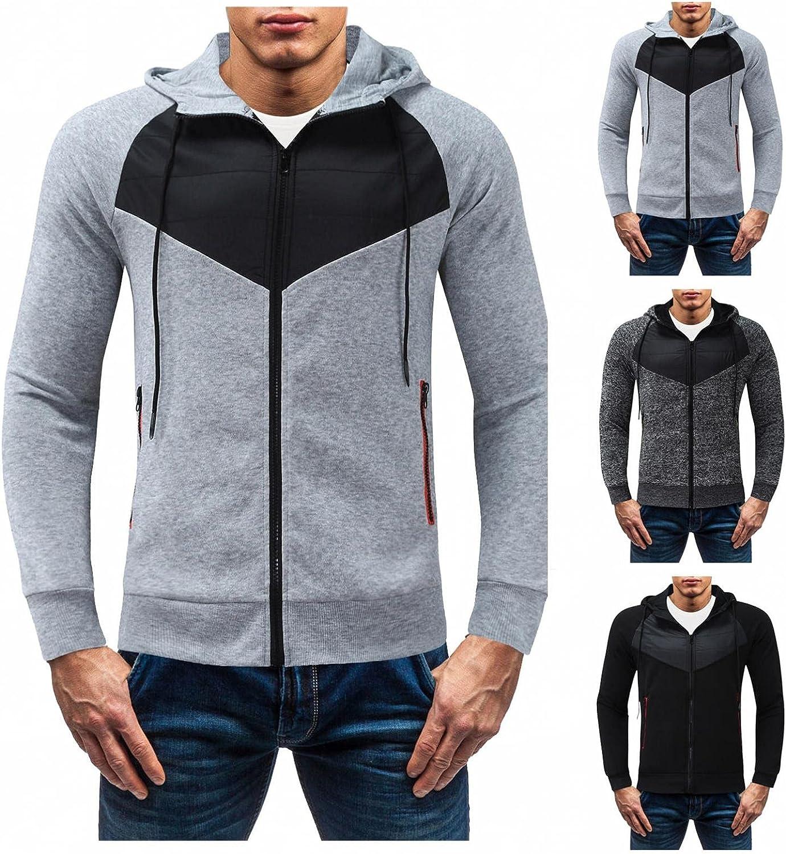 Sweatshirts for Men Pullover Long Sleeve Pockets Zip Up Slim Patchwork Drawstring Athletic Sweatshirt Gym Hooded Tops Coats