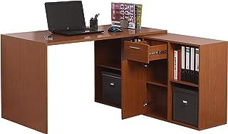 RICOO WM081-ER Bureau Angle avec Rangement Table Console Extensible Meuble Bureau avec tiroir Étagère Armoir à Dossier Boi...