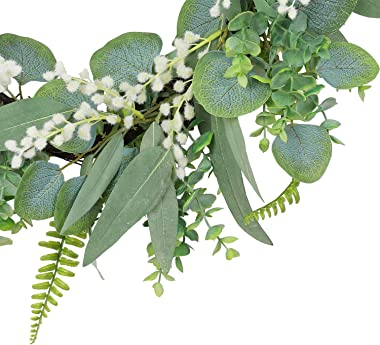 20 Inch Green Eucalyptus Wreath for Front Door- Handicraft Bamboo Frame with Versatile Silk Leaves - Ideal Spring & Summe