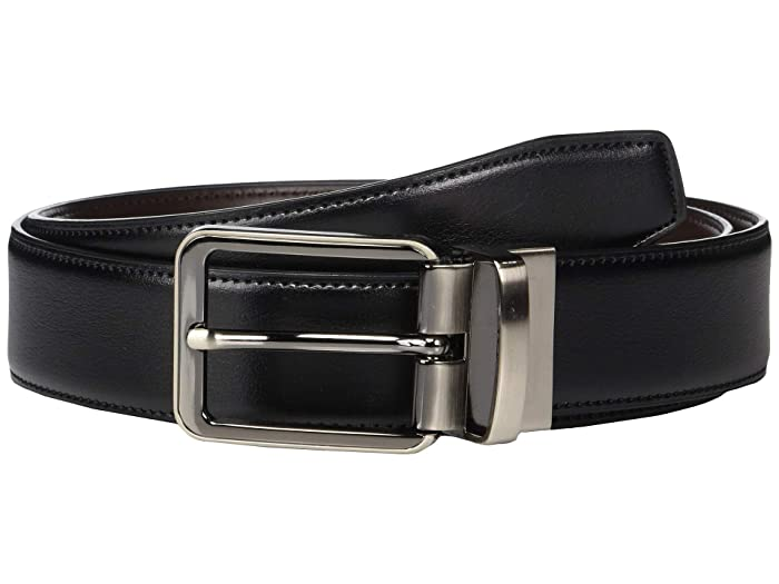 Perry Ellis Portfolio  Gunmetal Buckle Reversible Belt (Black) Mens Belts
