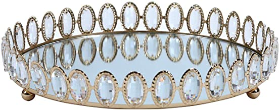 Pan Emirates Crystel Roung Tray, Gold - 30 x 30 x 6 cm