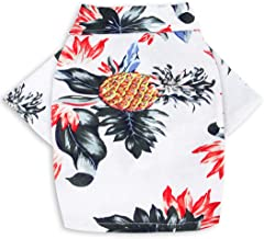 MaruPet Doggie Summer Pineapple Print Polo T Shirts Hawaiian Style Sun Protection Lightweight Pet Air Conditioning Clothes Dog Cotton Sunscreen T-Shirtfor Small, Extra Small Dog