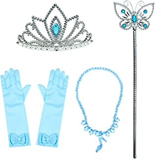 Toddler Princess Cinderella Little Girls Dress up With Tiara Crown Necklace Wand Gloves Party Accessories Gift Set