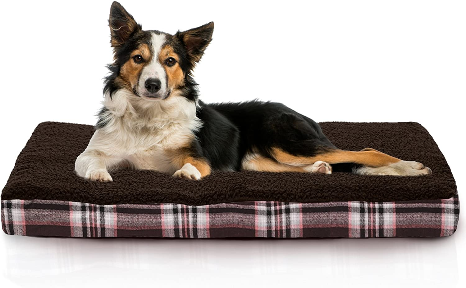 FurHaven Pet Dog Bed   Deluxe Memory Foam Faux Sheepskin & Plaid Mattress Pet Bed for Dogs & Cats, Java Brown, Medium