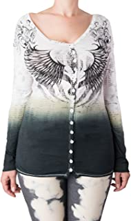 Women's Long Sleeve Button Front Shirt Embroidered Stitching Angel Wings White