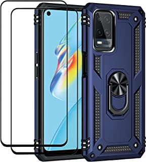 Fegishilly Kickstand Case with Screen Protector Tempered Glass [2 Pieces] Compatible with Oppo A54, Hybrid Heavy Duty Armo...