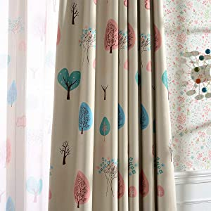 Melodieux Cartoon Trees Room Darkening Blackout Curtains 63 Inch Length for Small Windows Kids Bedroom Grommet Drapes, 42 by 63 Inch (2 Panels)
