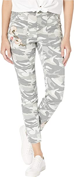 Printed Stretch Twill Leggings w/ Patch Pocket & Embroidered Detail