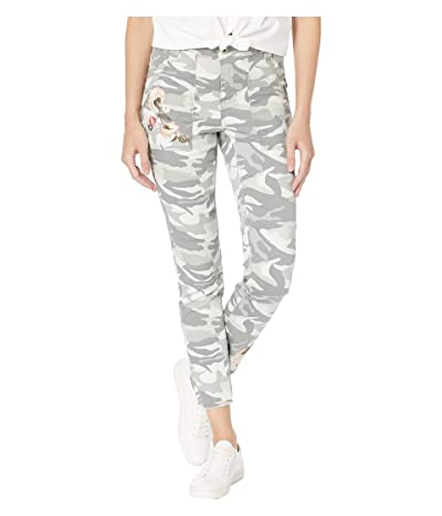 Tribal Printed Stretch Twill Leggings w/ Patch Pocket Embroidered Detail (Khaki/Green) Women