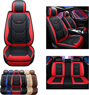 SOGLOTY Leather Car Seat Covers Automotive Vehicle Cushion Cover for Cars SUV Pick-up Truck Universal Fit Set for Auto Int...