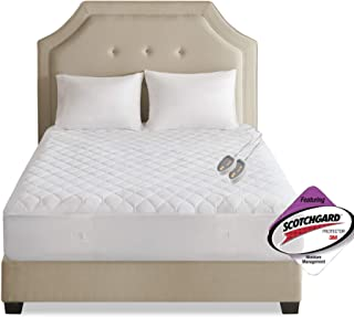 Beautyrest - 3M Scotchgard Heated Mattress Pad Queen Size -Secure Comfort Technology- Luxury Quilted Electric Mattress Pad with Deep Pocket - White - Two 5-Setting Heat Controllers - 5 Year Warranty