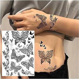 CQHUI Zwarte Henna Kant Tijdelijke Tattoos Sticker Voor Vrouwen Butterfly Moth Bloem Fake Tatoo Sticker Veer Flora Tatoo (...