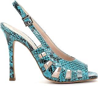 Pierfrancesco Vincenti Sandali pitonati con Tacco Alto a Spillo - Scarpe Donna Made in Italy Colore Blu