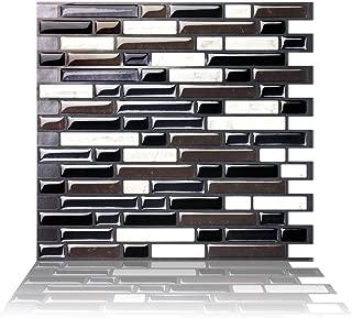 Tic Tac Tiles Mosaic Peel and Stick Wall Tile in Random Brick Metal Black (10)