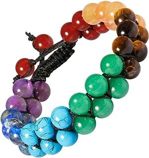 Nupuyai Double Layers Healing Gemstone Crystal Bead Bracelet Handmade Braided Unisex Adjustable Macrame Bracelets 8mm