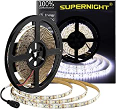 600 LEDs Light Strip Waterproof Cool White 7000K, SUPERNIGHT 16.4FT LED Rope Lighting Flexible Tape Decorate for Bedroom Boat Car TV backlighting Holidays Party (White)