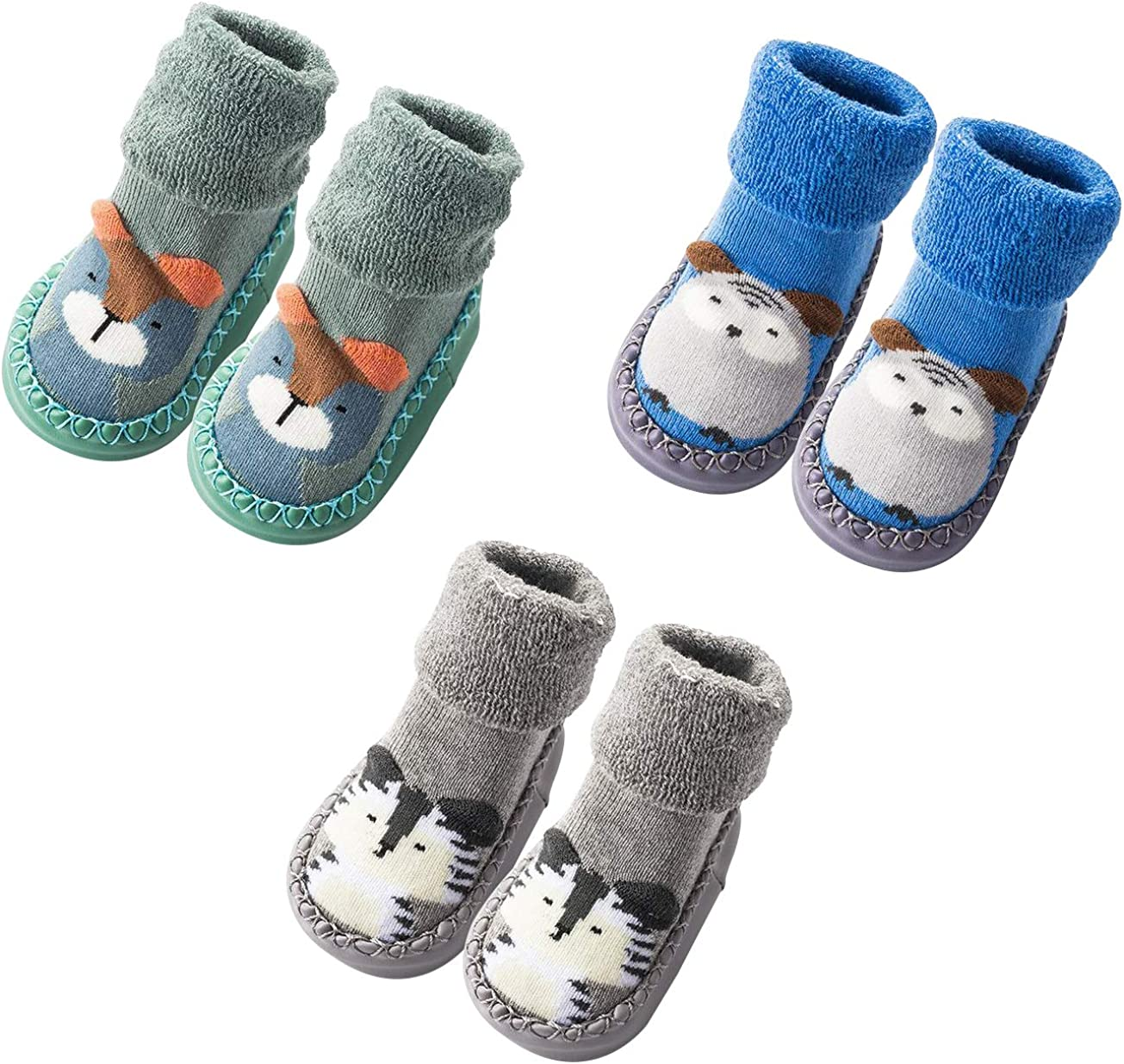 Infant Baby Boy Girls Toddlers Moccasins Non-Skid Indoor Slipper Shoes Socks Booties with Grips