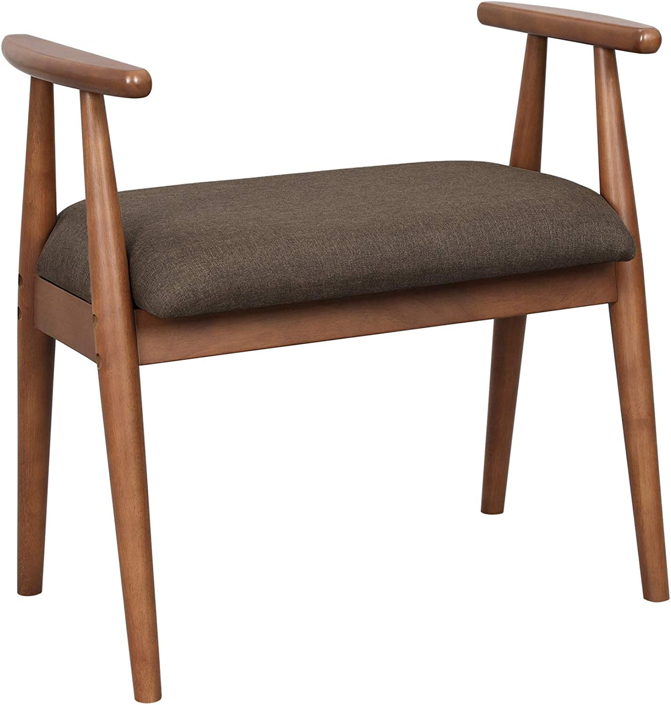 VASAGLE shoes Bench, Upholstered Vanity Stool with Armrests, Solid Rubberwood Frame, Load Capacity 286 lb, for Entryway, Bedroom, Living Room, Saddle Brown URSB01BR