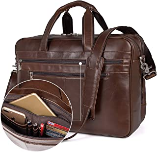 Augus Business Travel Briefcase Genuine Leather Duffel Bags for Men Laptop Bag fits 15.6 inches Laptop (Brown)