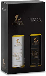 TruffleHunter Black & White Truffle Oil Gift Set (2 x 3.38 Oz) Real Truffle Pieces In Bottle Olive Oil - Seasoning Garnish Gourmet Food Salad Dressing Marinade - Vegan Kosher Gluten Free Vegetarian