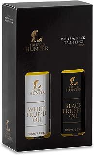 TruffleHunter Black & White Truffle Oil Gift Set (2 x 3.38 Oz) Real Truffle Pieces In Bottle Olive Oil - Seasoning Garnish Gourmet Food Salad Dressing Marinade - Vegan Kosher Gluten Free Vegetarian