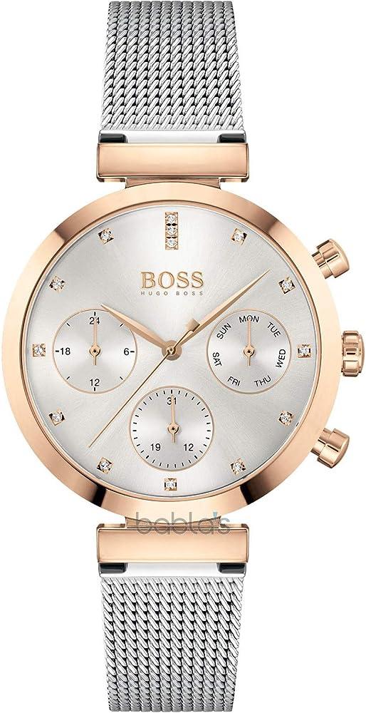Hugo boss, orologio, cronografo per donna, in acciaio  con placcatura ionica oro rosa  e cristalli 1502551