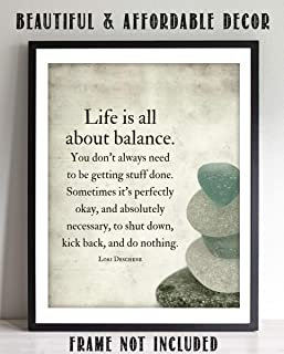"""""""Life is All About Balance""""- Motivational Quotes Wall Art-8 x 10""""- Modern Typographic Wall Print- Ready to Frame. Inspirational Home Decor. Office-Studio Decor. Give Yourself Permission To Do Nothing!"""