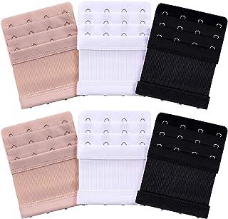 Akstore 6 Pieces Women's Soft Comfortable Elastic Bra Extenders Bra Extension Strap 4 Hook 3 Row Lady's Bra Extender Bra Band