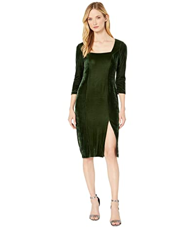 Donna Morgan Stretch Velvet Deep Square Neck 3/4 Length Sleeve Midi Dress (Dark Green) Women